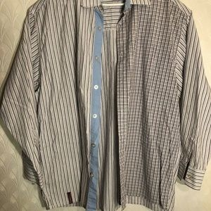 Rocawear Mens Long Sleeve Strip and Checker Button